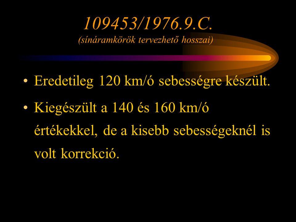 Folyamatos ütemezés esetén az 1-es ütem kiértékelési távolsága és a kényszer-fékezés megindításáig megtett út összege [m] Csatlakozó ütemezetlen vonal felöl számítandó kiértékelési távolság és a kényszerfékezés megindításáig megtett út összege [m] Engedélyezett sebesség km/ó 109453/1976 elöírása VonalonÁllomáson109453/1976 elöírása VonalonÁllomáson 160329348 140313330 120280297311480525537 100267281293435471481 80253265274390417425 60240249256340363369 40295309313 Rétlaki Győző: Emelt sebesség