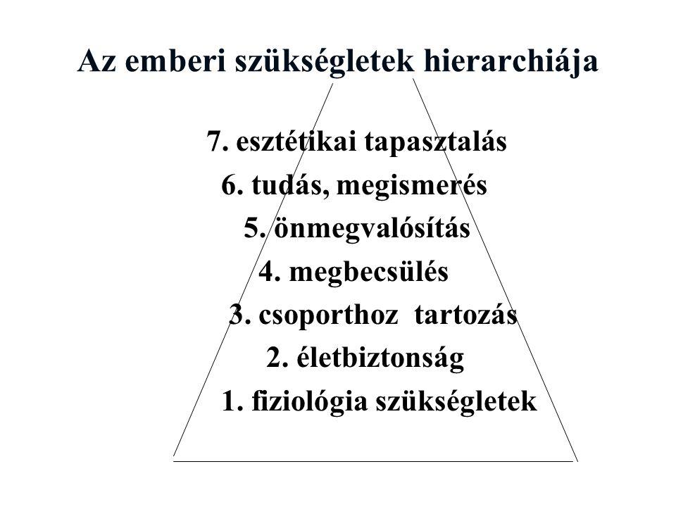 Az emberi szükségletek hierarchiája 7.esztétikai tapasztalás 6.