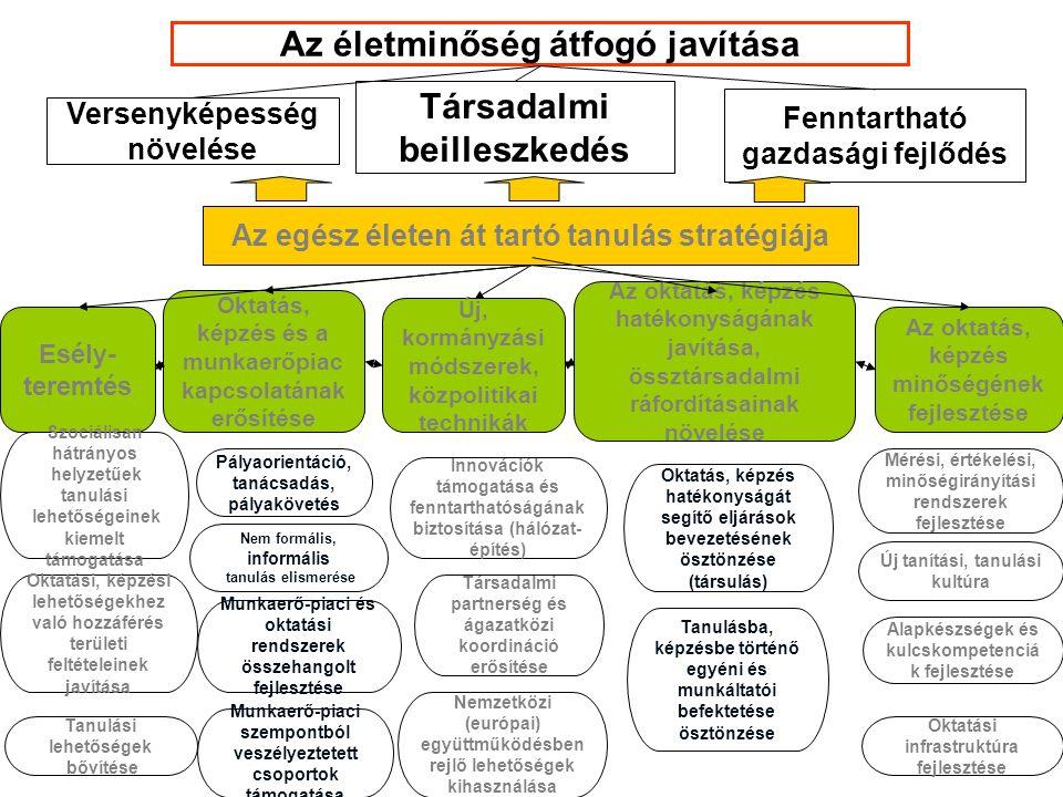 Versenyképesség növelése Társadalmi beilleszkedés Fenntartható gazdasági fejlődés Az életminőség átfogó javítása Az egész életen át tartó tanulás stratégiája Esély- teremtés Oktatás, képzés és a munkaerőpiac kapcsolatának erősítése Az oktatás, képzés hatékonyságának javítása, össztársadalmi ráfordításainak növelése Pályaorientáció, tanácsadás, pályakövetés Alapkészségek és kulcskompetenciá k fejlesztése Új tanítási, tanulási kultúra Tanulási lehetőségek bővítése Az oktatás, képzés minőségének fejlesztése Szociálisan hátrányos helyzetűek tanulási lehetőségeinek kiemelt támogatása Nem formális, informális tanulás elismerése Innovációk támogatása és fenntarthatóságának biztosítása (hálózat- építés) Oktatás, képzés hatékonyságát segítő eljárások bevezetésének ösztönzése (társulás) Új, kormányzási módszerek, közpolitikai technikák Oktatási, képzési lehetőségekhez való hozzáférés területi feltételeinek javítása Mérési, értékelési, minőségirányítási rendszerek fejlesztése Társadalmi partnerség és ágazatközi koordináció erősítése Oktatási infrastruktúra fejlesztése Munkaerő-piaci és oktatási rendszerek összehangolt fejlesztése Munkaerő-piaci szempontból veszélyeztetett csoportok támogatása Nemzetközi (európai) együttműködésben rejlő lehetőségek kihasználása Tanulásba, képzésbe történő egyéni és munkáltatói befektetése ösztönzése
