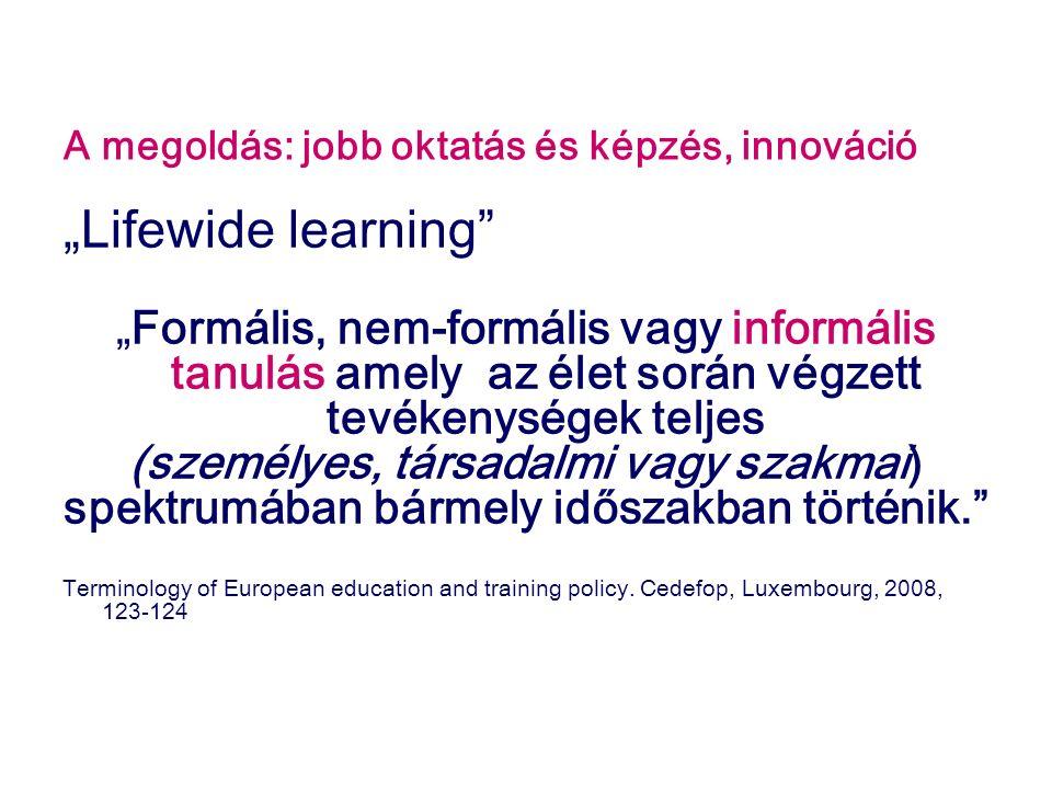 """A megoldás: jobb oktatás és képzés, innováció """"Lifewide learning """"Formális, nem-formális vagy informális tanulás amely az élet során végzett tevékenységek teljes (személyes, társadalmi vagy szakmai) spektrumában bármely időszakban történik. Terminology of European education and training policy."""