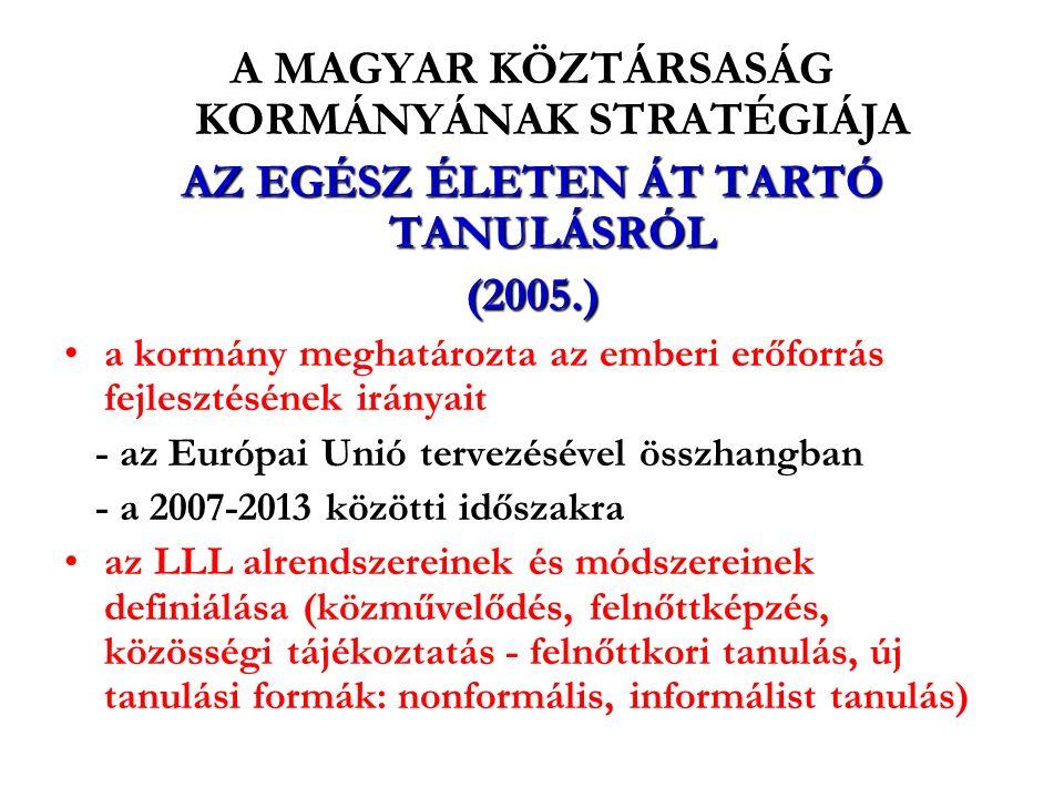 A MAGYAR KÖZTÁRSASÁG KORMÁNYÁNAK STRATÉGIÁJA AZ EGÉSZ ÉLETEN ÁT TARTÓ TANULÁSRÓL (2005.) a kormány meghatározta az emberi erőforrás fejlesztésének irányait - az Európai Unió tervezésével összhangban - a 2007-2013 közötti időszakra az LLL alrendszereinek és módszereinek definiálása (közművelődés, felnőttképzés, közösségi tájékoztatás - felnőttkori tanulás, új tanulási formák: nonformális, informálist tanulás)