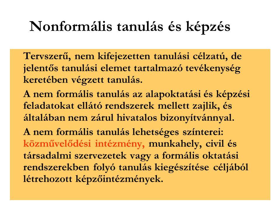 Nonformális tanulás és képzés Tervszerű, nem kifejezetten tanulási célzatú, de jelentős tanulási elemet tartalmazó tevékenység keretében végzett tanulás.