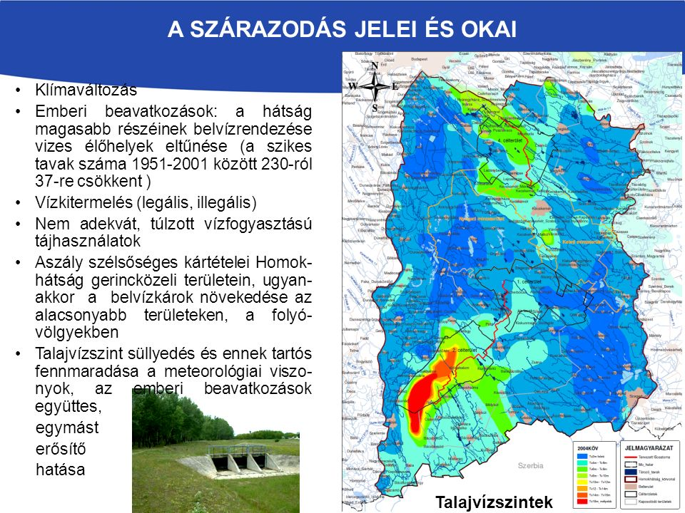 Klímaváltozás Emberi beavatkozások: a hátság magasabb részéinek belvízrendezése vizes élőhelyek eltűnése (a szikes tavak száma 1951-2001 között 230-ró