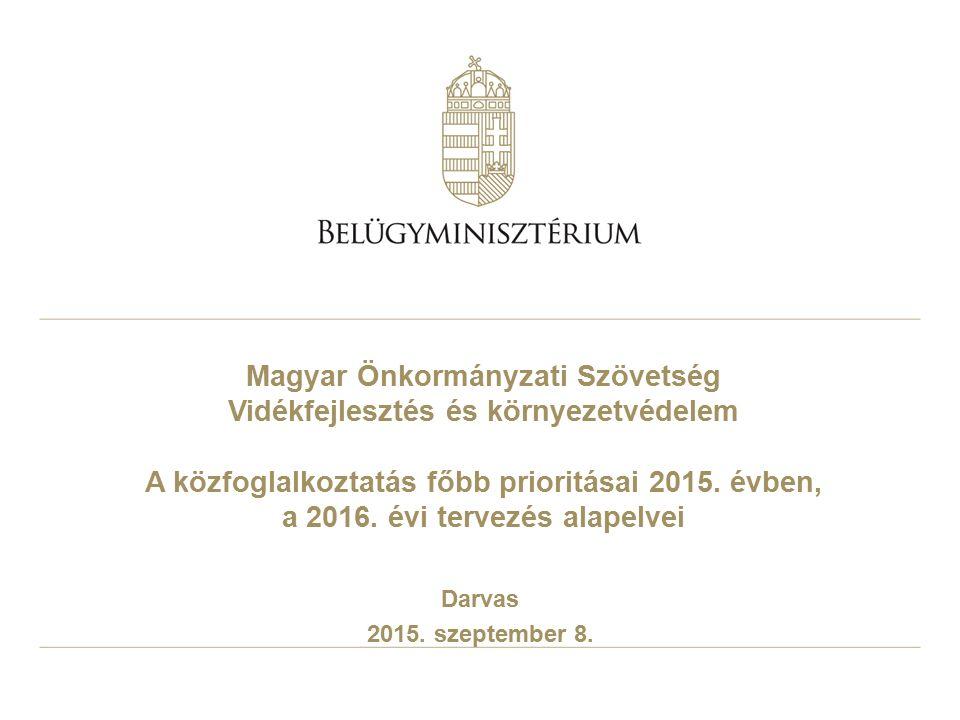 Magyar Önkormányzati Szövetség Vidékfejlesztés és környezetvédelem A közfoglalkoztatás főbb prioritásai 2015. évben, a 2016. évi tervezés alapelvei Da