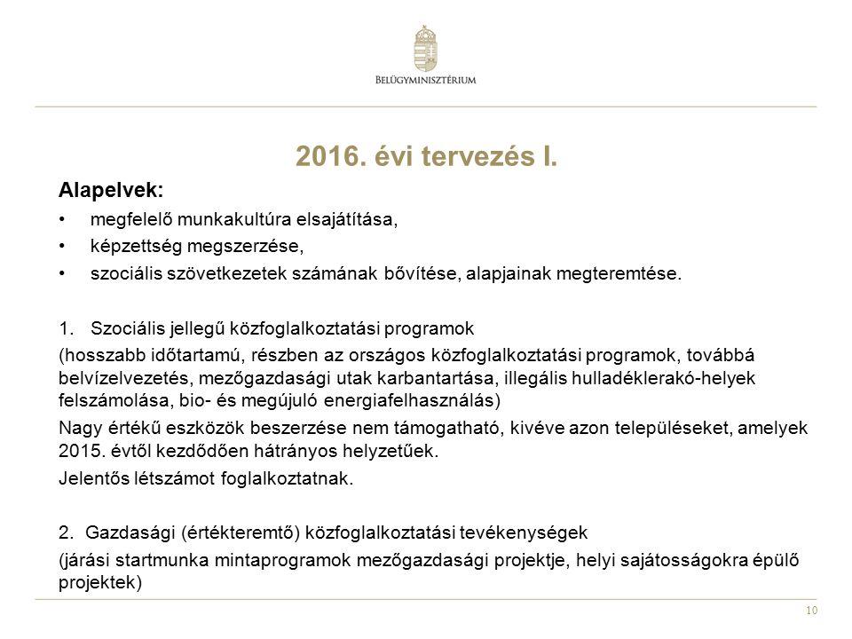 10 2016. évi tervezés I. Alapelvek: megfelelő munkakultúra elsajátítása, képzettség megszerzése, szociális szövetkezetek számának bővítése, alapjainak
