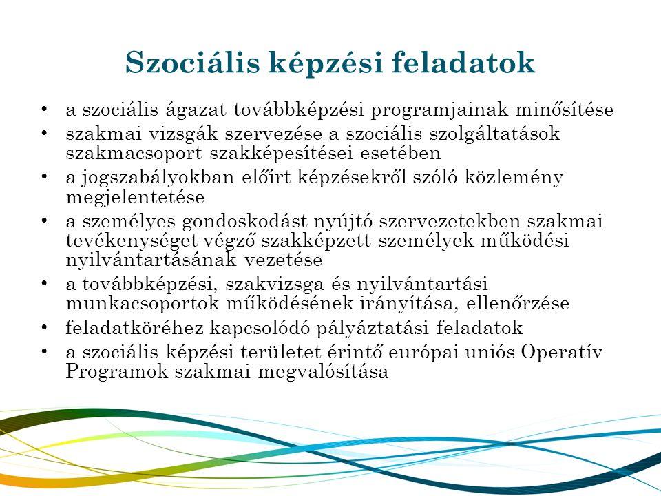 Szociális képzési feladatok a szociális ágazat továbbképzési programjainak minősítése szakmai vizsgák szervezése a szociális szolgáltatások szakmacsop