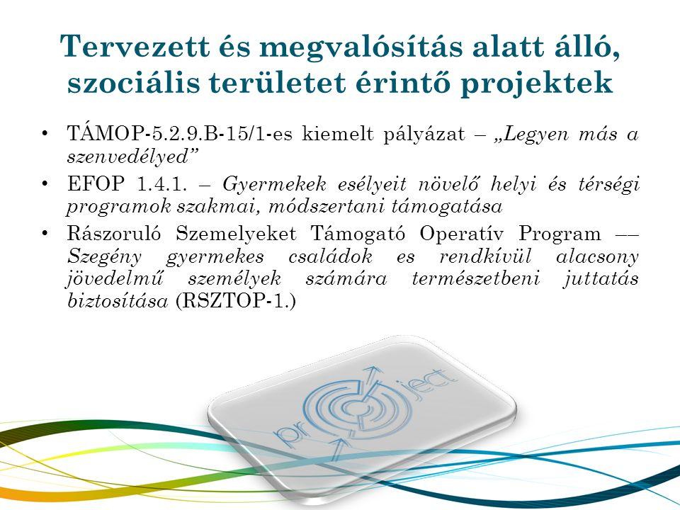 """Tervezett és megvalósítás alatt álló, szociális területet érintő projektek TÁMOP-5.2.9.B-15/1-es kiemelt pályázat – """"Legyen más a szenvedélyed"""" EFOP 1"""