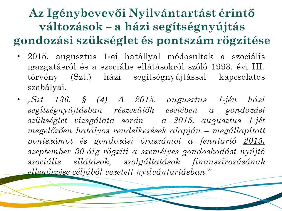 2015. augusztus 1-ei hatállyal módosultak a szociális igazgatásról és a szociális ellátásokról szóló 1993. évi III. törvény (Szt.) házi segítségnyújtá