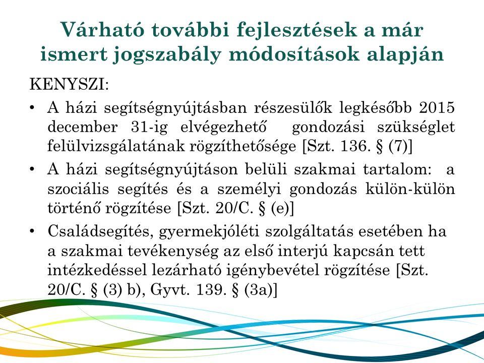 Várható további fejlesztések a már ismert jogszabály módosítások alapján KENYSZI: A házi segítségnyújtásban részesülők legkésőbb 2015 december 31-ig e