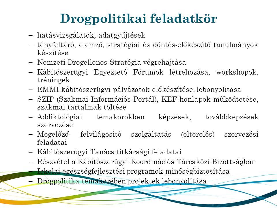 Drogpolitikai feladatkör – hatásvizsgálatok, adatgyűjtések – tényfeltáró, elemző, stratégiai és döntés-előkészítő tanulmányok készítése – Nemzeti Drog