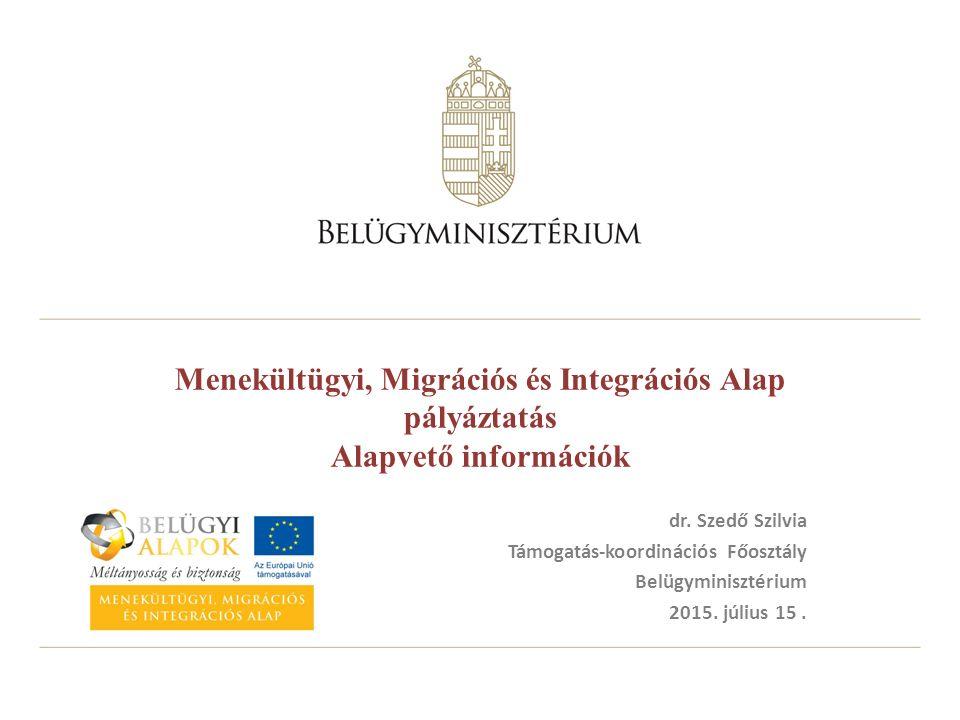 Menekültügyi, Migrációs és Integrációs Alap pályáztatás Alapvető információk dr. Szedő Szilvia Támogatás-koordinációs Főosztály Belügyminisztérium 201