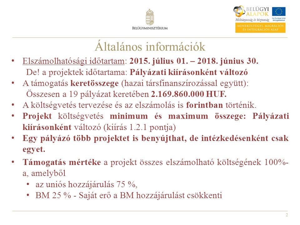 2 Általános információk Elszámolhatósági időtartam: 2015. július 01. – 2018. június 30. De! a projektek időtartama: Pályázati kiírásonként változó A t