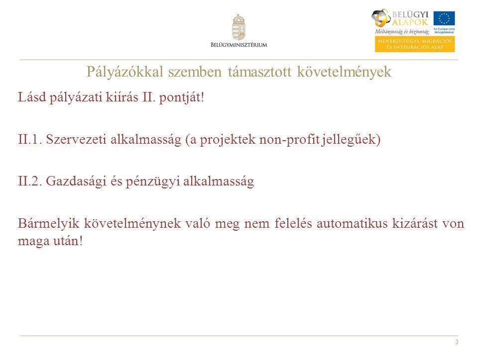 3 Pályázókkal szemben támasztott követelmények Lásd pályázati kiírás II. pontját! II.1. Szervezeti alkalmasság (a projektek non-profit jellegűek) II.2