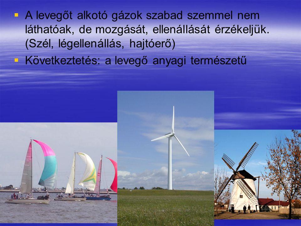   A levegőt alkotó gázok szabad szemmel nem láthatóak, de mozgását, ellenállását érzékeljük. (Szél, légellenállás, hajtóerő)   Következtetés: a le