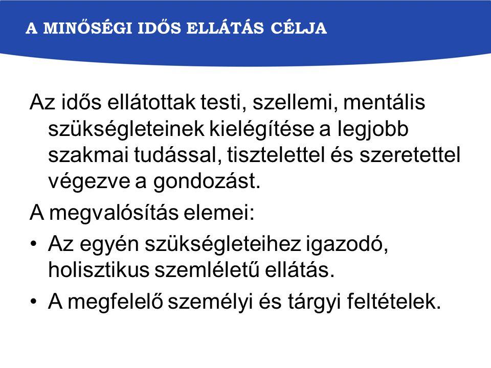 SZEMÉLYRE SZABOTT ELLÁTÁS FELTÉTELE Egyéni gondozási terv készítése Előírja: az 1/2000 SZCSM r.