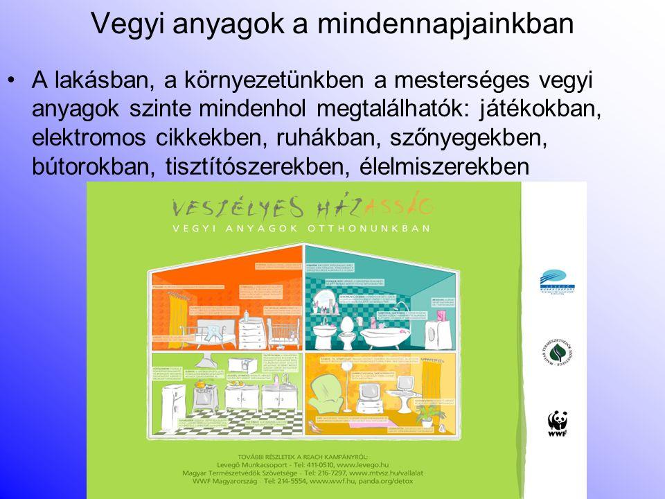 Vegyi anyagok a mindennapjainkban A lakásban, a környezetünkben a mesterséges vegyi anyagok szinte mindenhol megtalálhatók: játékokban, elektromos cikkekben, ruhákban, szőnyegekben, bútorokban, tisztítószerekben, élelmiszerekben