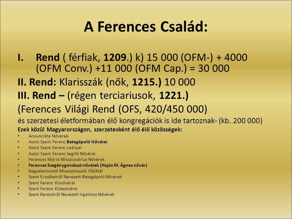 I.Rend ( férfiak, 1209.) k) 15 000 (OFM-) + 4000 (OFM Conv.) +11 000 (OFM Cap.) = 30 000 II.