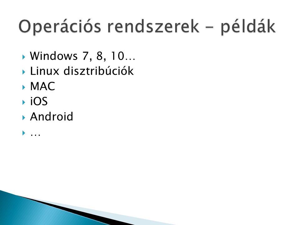  Windows 7, 8, 10…  Linux disztribúciók  MAC  iOS  Android ……