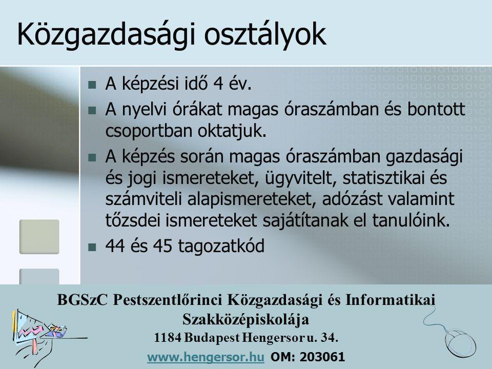 BGSzC Pestszentlőrinci Közgazdasági és Informatikai Szakközépiskolája 1184 Budapest Hengersor u. 34. www.hengersor.hu www.hengersor.hu OM: 203061 Közg