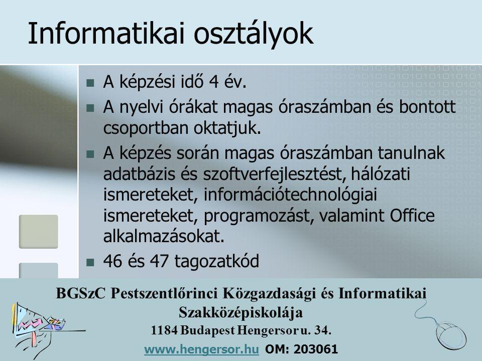 BGSzC Pestszentlőrinci Közgazdasági és Informatikai Szakközépiskolája 1184 Budapest Hengersor u. 34. www.hengersor.hu www.hengersor.hu OM: 203061 Info
