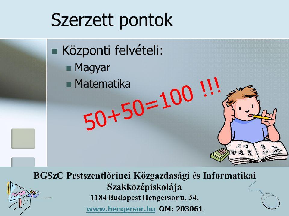 BGSzC Pestszentlőrinci Közgazdasági és Informatikai Szakközépiskolája 1184 Budapest Hengersor u. 34. www.hengersor.hu www.hengersor.hu OM: 203061 Szer