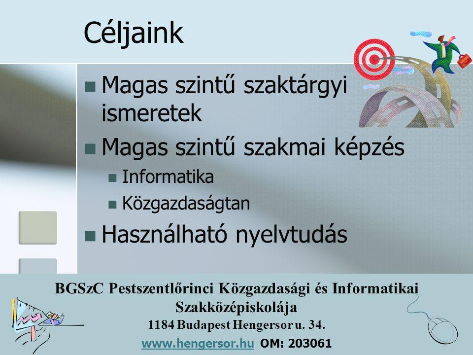 BGSzC Pestszentlőrinci Közgazdasági és Informatikai Szakközépiskolája 1184 Budapest Hengersor u. 34. www.hengersor.hu www.hengersor.hu OM: 203061 Célj