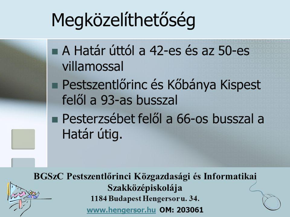 BGSzC Pestszentlőrinci Közgazdasági és Informatikai Szakközépiskolája 1184 Budapest Hengersor u. 34. www.hengersor.hu www.hengersor.hu OM: 203061 Megk