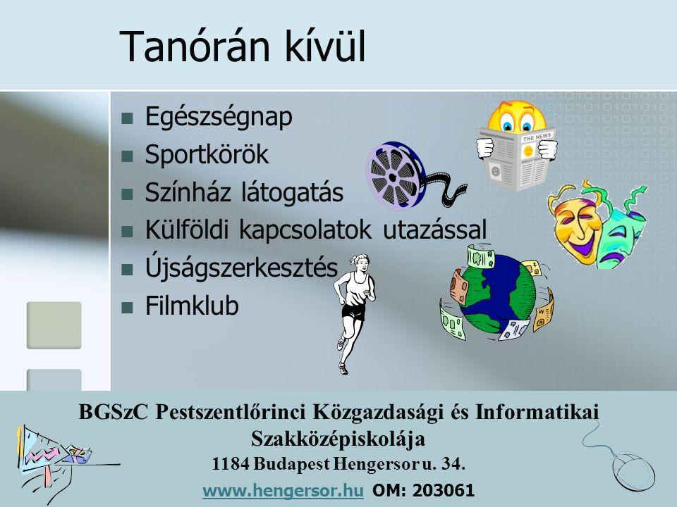 BGSzC Pestszentlőrinci Közgazdasági és Informatikai Szakközépiskolája 1184 Budapest Hengersor u. 34. www.hengersor.hu www.hengersor.hu OM: 203061 Tanó