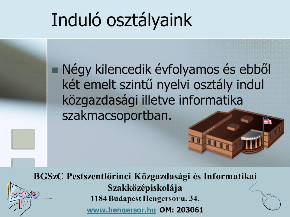 BGSzC Pestszentlőrinci Közgazdasági és Informatikai Szakközépiskolája 1184 Budapest Hengersor u. 34. www.hengersor.hu www.hengersor.hu OM: 203061 Indu