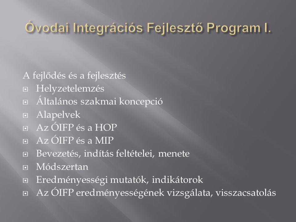 A fejlődés és a fejlesztés  Helyzetelemzés  Általános szakmai koncepció  Alapelvek  Az ÓIFP és a HOP  Az ÓIFP és a MIP  Bevezetés, indítás feltételei, menete  Módszertan  Eredményességi mutatók, indikátorok  Az ÓIFP eredményességének vizsgálata, visszacsatolás