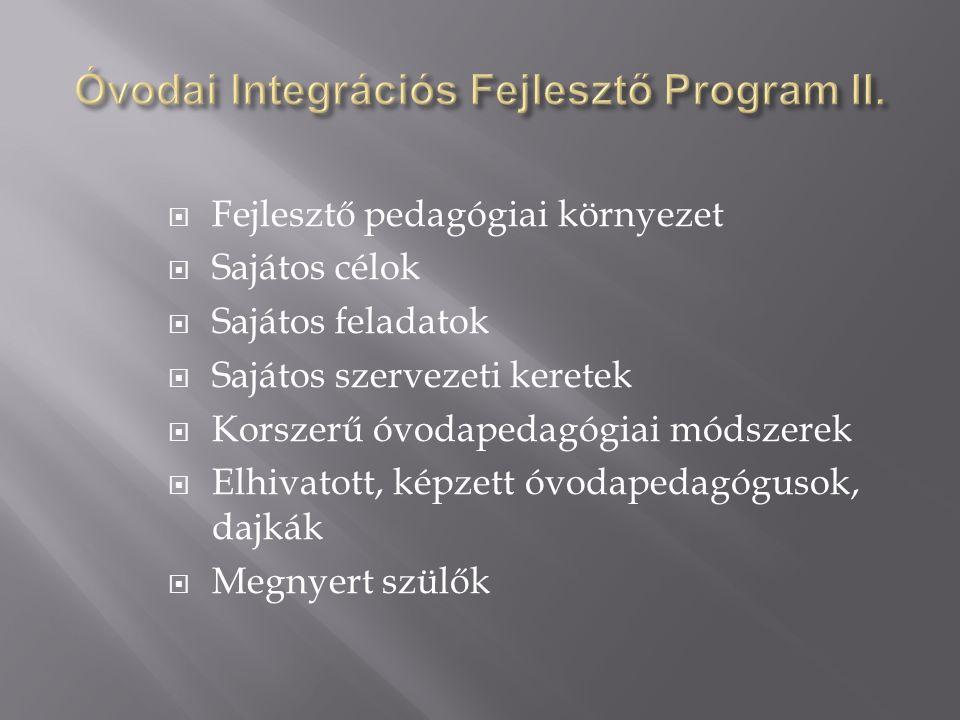  Fejlesztő pedagógiai környezet  Sajátos célok  Sajátos feladatok  Sajátos szervezeti keretek  Korszerű óvodapedagógiai módszerek  Elhivatott, k
