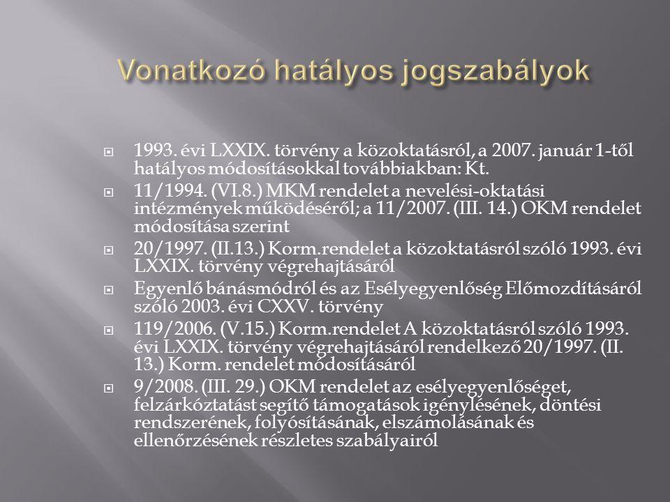  1993. évi LXXIX. törvény a közoktatásról, a 2007.