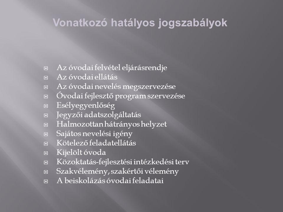 Vonatkozó hatályos jogszabályok  Az óvodai felvétel eljárásrendje  Az óvodai ellátás  Az óvodai nevelés megszervezése  Óvodai fejlesztő program szervezése  Esélyegyenlőség  Jegyzői adatszolgáltatás  Halmozottan hátrányos helyzet  Sajátos nevelési igény  Kötelező feladatellátás  Kijelölt óvoda  Közoktatás-fejlesztési intézkedési terv  Szakvélemény, szakértői vélemény  A beiskolázás óvodai feladatai