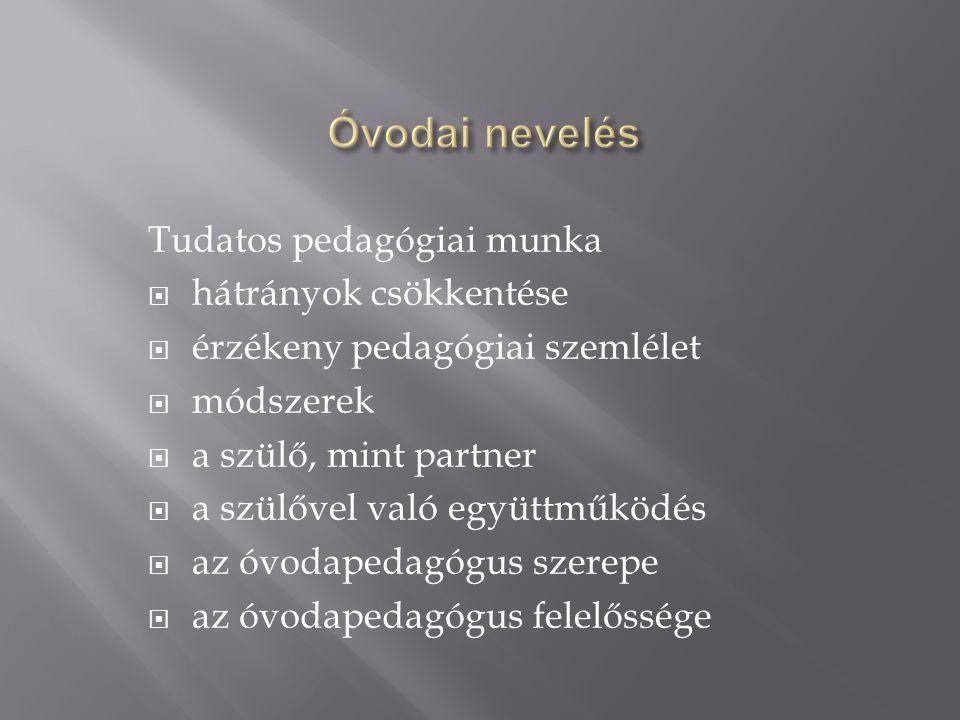  Pedagógiai alapállás  Nem külön program: ÓNOAP, Irányelvei, 2003.
