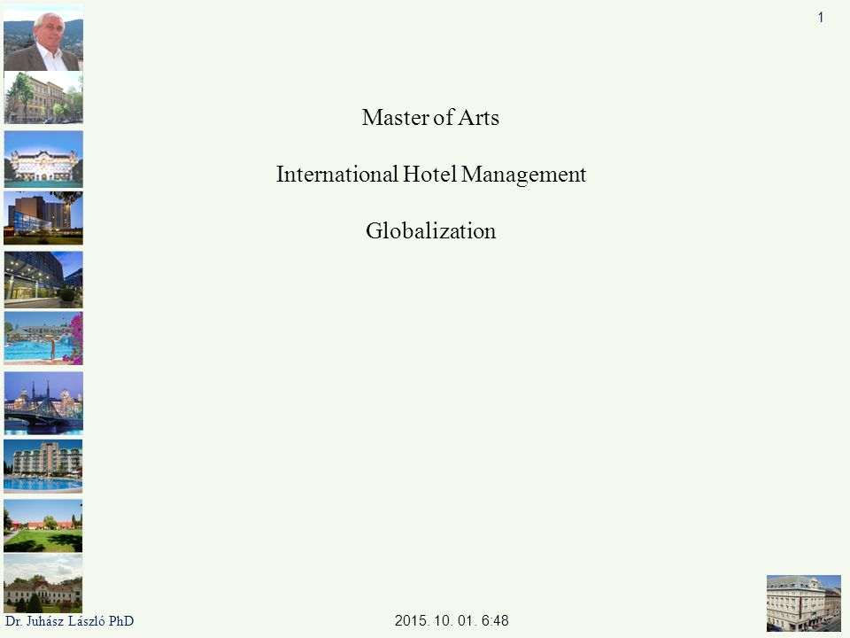 Master of Arts International Hotel Management Globalization 2015.