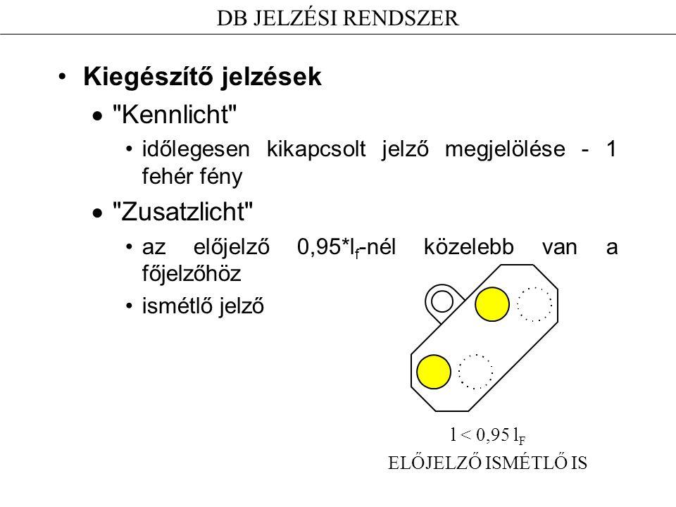 Kiegészítő jelzések  Kennlicht időlegesen kikapcsolt jelző megjelölése - 1 fehér fény  Zusatzlicht az előjelző 0,95*l f -nél közelebb van a főjelzőhöz ismétlő jelző DB JELZÉSI RENDSZER l < 0,95 l F ELŐJELZŐ ISMÉTLŐ IS
