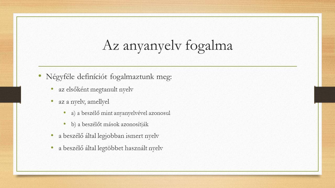 Az anyanyelv fogalma Négyféle definíciót fogalmaztunk meg: az elsőként megtanult nyelv az a nyelv, amellyel a) a beszélő mint anyanyelvével azonosul b) a beszélőt mások azonosítják a beszélő által legjobban ismert nyelv a beszélő által legtöbbet használt nyelv