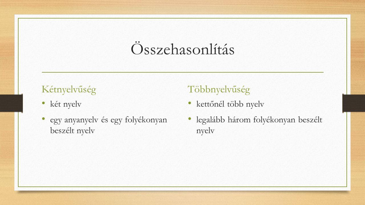 Összehasonlítás Kétnyelvűség két nyelv egy anyanyelv és egy folyékonyan beszélt nyelv Többnyelvűség kettőnél több nyelv legalább három folyékonyan beszélt nyelv