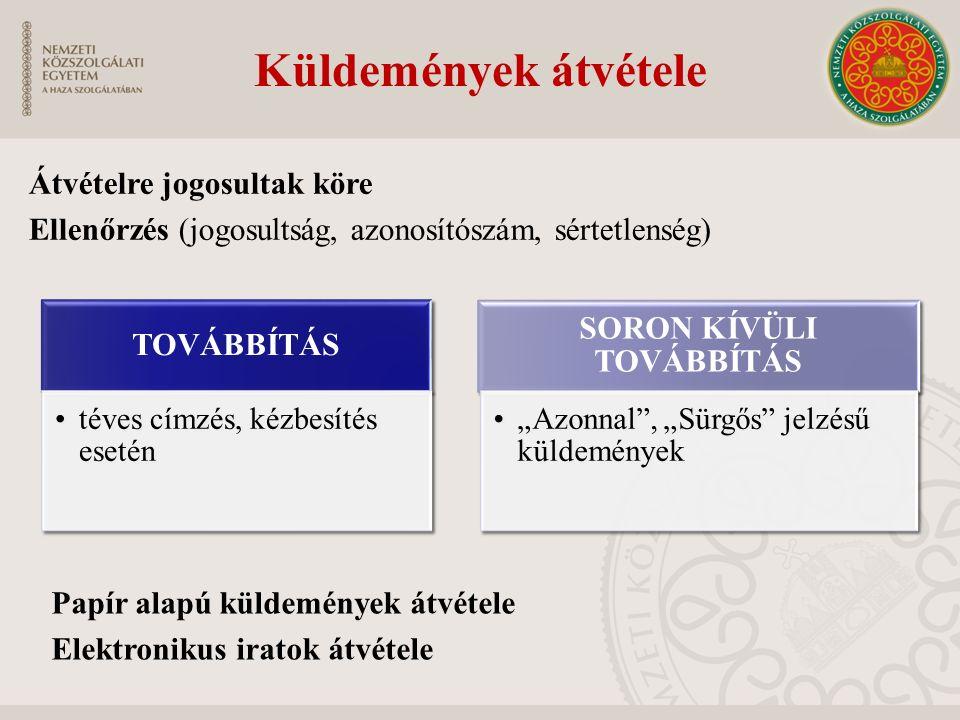 Küldemények átvétele Átvételre jogosultak köre Ellenőrzés (jogosultság, azonosítószám, sértetlenség) Papír alapú küldemények átvétele Elektronikus ira