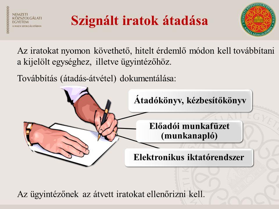 Átadókönyv, kézbesítőkönyv Előadói munkafüzet (munkanapló) Elektronikus iktatórendszer Továbbítás (átadás-átvétel) dokumentálása: Az iratokat nyomon k