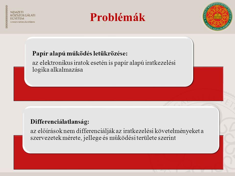 Problémák Papír alapú működés letükrözése: az elektronikus iratok esetén is papír alapú iratkezelési logika alkalmazása Differenciálatlanság: az előír