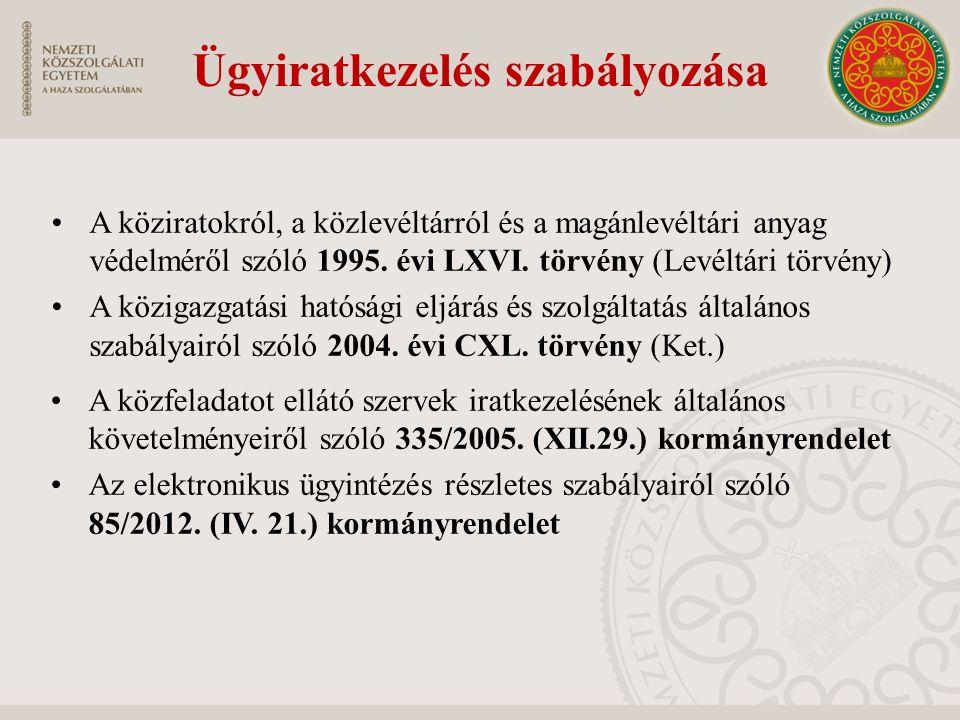 Ügyiratkezelés szabályozása A közfeladatot ellátó szervek iratkezelésének általános követelményeiről szóló 335/2005. (XII.29.) kormányrendelet Az elek