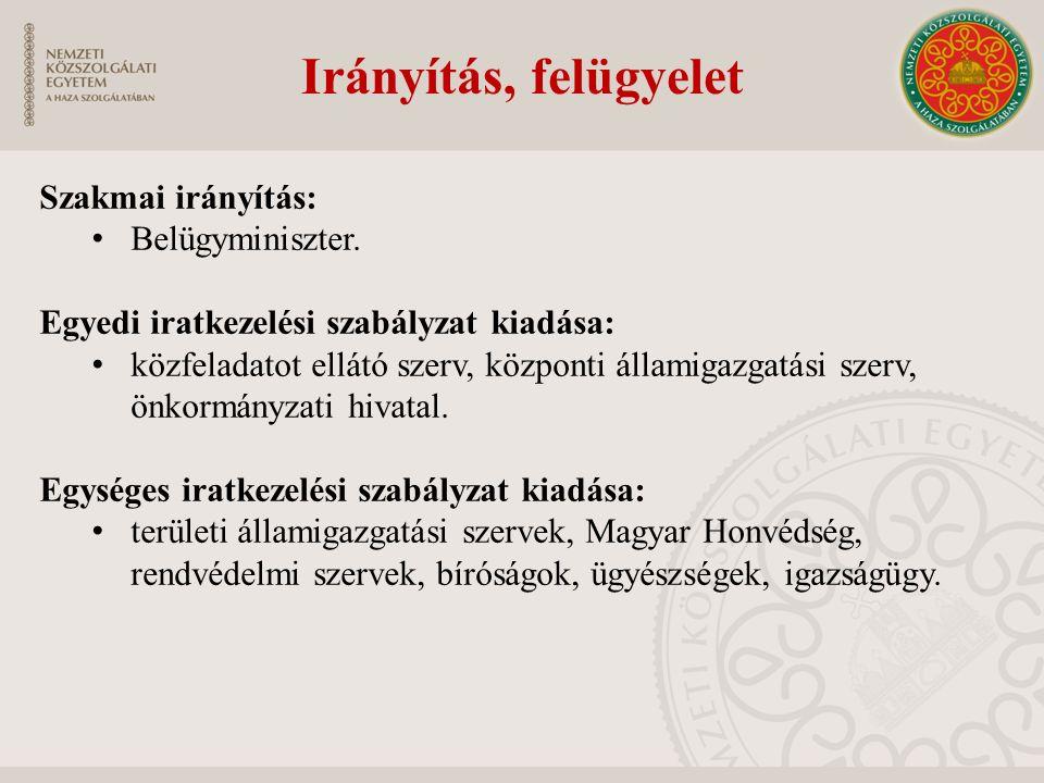 Irányítás, felügyelet Szakmai irányítás: Belügyminiszter. Egyedi iratkezelési szabályzat kiadása: közfeladatot ellátó szerv, központi államigazgatási