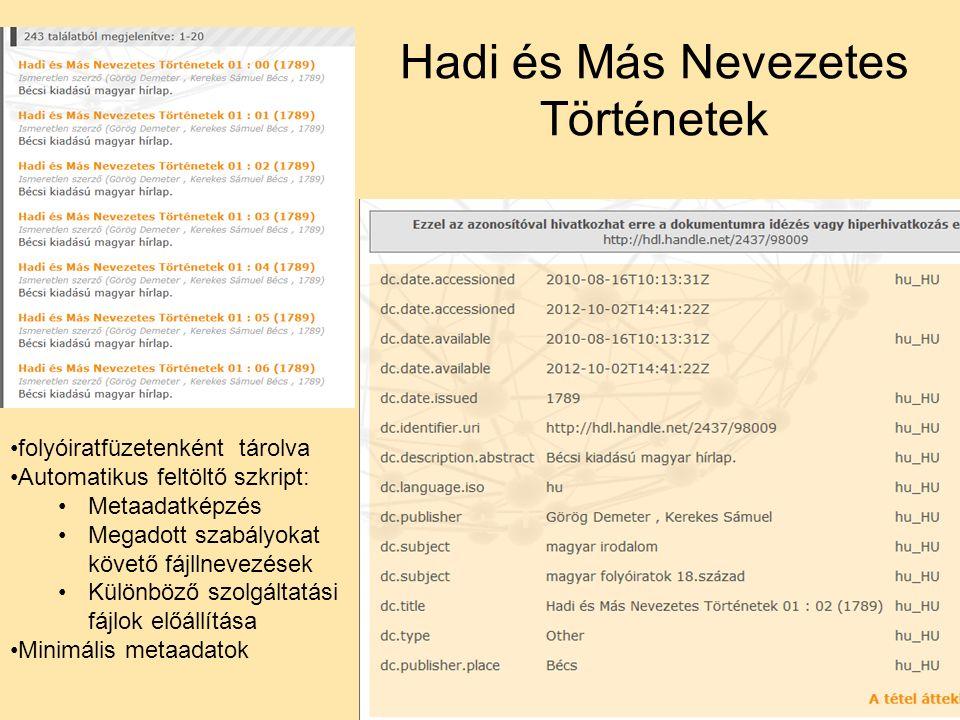 Hadi és Más Nevezetes Történetek folyóiratfüzetenként tárolva Automatikus feltöltő szkript: Metaadatképzés Megadott szabályokat követő fájllnevezések Különböző szolgáltatási fájlok előállítása Minimális metaadatok