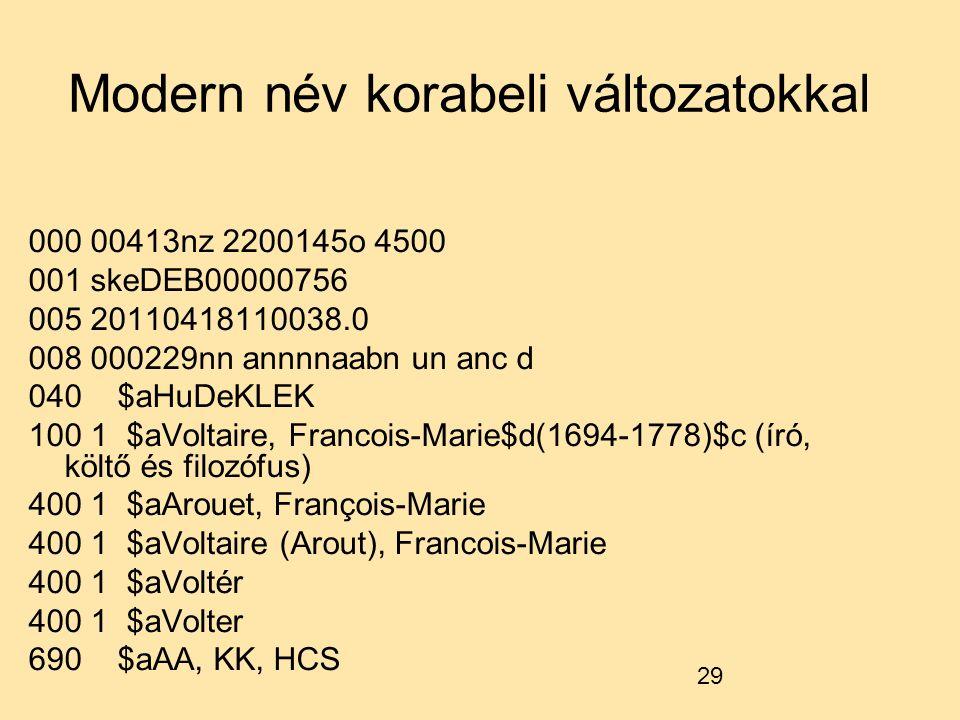 29 Modern név korabeli változatokkal 000 00413nz 2200145o 4500 001 skeDEB00000756 005 20110418110038.0 008 000229nn annnnaabn un anc d 040 $aHuDeKLEK 100 1 $aVoltaire, Francois-Marie$d(1694-1778)$c (író, költő és filozófus) 400 1 $aArouet, François-Marie 400 1 $aVoltaire (Arout), Francois-Marie 400 1 $aVoltér 400 1 $aVolter 690 $aAA, KK, HCS