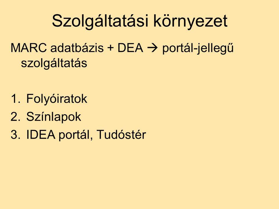Szolgáltatási környezet MARC adatbázis + DEA  portál-jellegű szolgáltatás 1.Folyóiratok 2.Színlapok 3.IDEA portál, Tudóstér