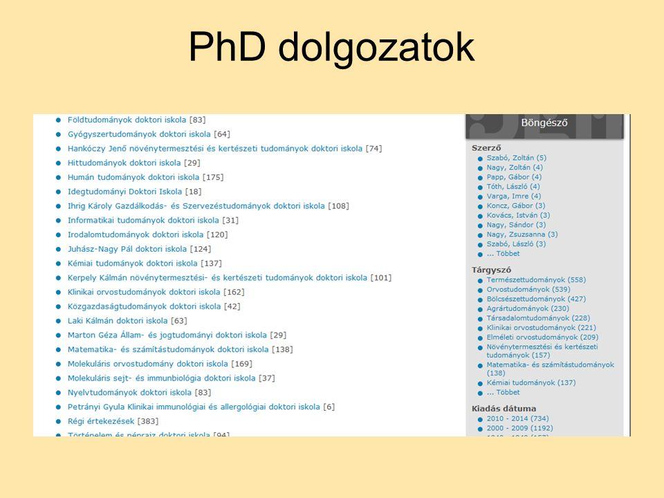 PhD dolgozatok