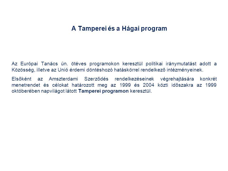 A Tamperei és a Hágai program Az Európai Tanács ún.