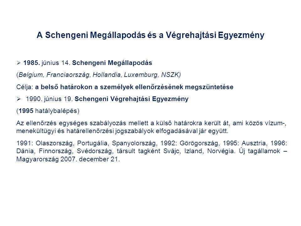 A Schengeni Megállapodás és a Végrehajtási Egyezmény  1985.
