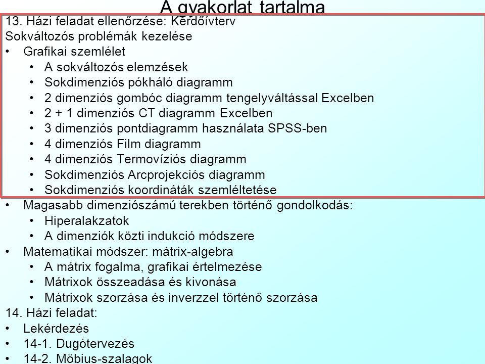3 dimenziós pontdiagramm Excelben Az Excel alapban nem tud 3 dimenziós pontdiagrammot de egy kimutatás és egy 3 dimenziós oszlopdiagramm átidomítása segítségével hamisíthatunk egyet (lásd: 3DPontDiagr.xls ): 3DPontDiagr.xls A Data munkalapra töltjük be az adatbázist, a változókat oszlopokba, megfigyeléseket sorokba, az első sorba a változóneveket A DataConv munkalap az ábrázolt változókat adott felbontású egységekre kerekíti A PivotTable munkalapon lévő Excel kimutatás (Pivot Table) sormezője lesz az X változó, oszlopmezője az Y változó, a tartalom mező a Z változó Max-szal aggregálva.
